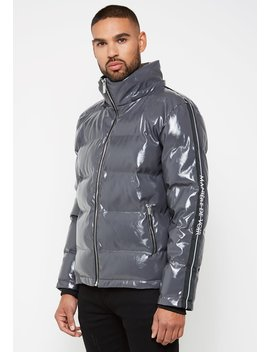 Louvre High Shine Puffer Jacket   Grey by Maniere De Voir