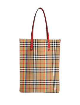 Vintage Rainbow Check Large Shopper Tote Bag by Burberry