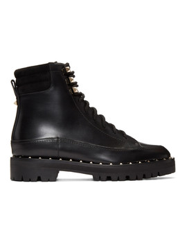 Black Valentino Garavani Sole Studded Hiking Boots by Valentino