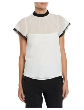 Contrast Trim Back Tie Sheer Top by Red Valentino