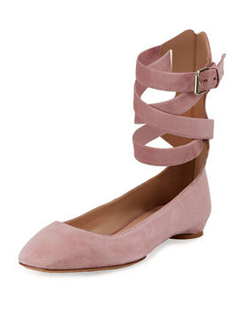Plum Suede Lace Up Ballet Flat by Valentino Garavani