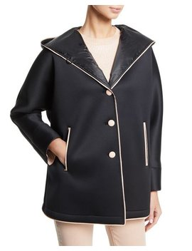 Hooded Neoprene Caban Coat by Emporio Armani