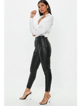 Petite Black Side Zip Faux Leather Trousers by Missguided