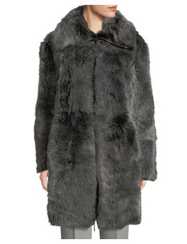 Reversible Leather Shearling Fur Long Coat by Emporio Armani