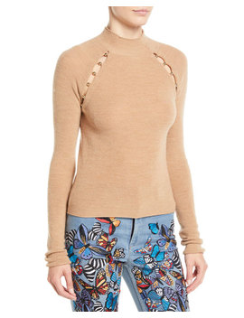 Jennifer Mock Neck Raglan Slit Pullover by Alice + Olivia