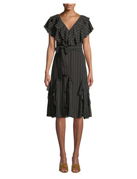 Tessa Striped Ruffle Godet Midi Dress by Alice + Olivia