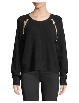 Jolynn Crewneck Raglan Slit Wool Pullover Sweater by Alice + Olivia