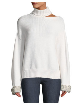 Gemini Shoulder Cutout Embellished Turtleneck Sweater by Alice + Olivia