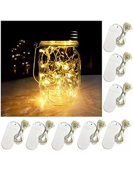 Yitee Battery Powered Mason Jar Lantern Lights,8 Pack Warm White 20 Led String Fairy Star Firefly Jar Lights,For Mason Jar Wine Bottle Home Patio Garden Wedding Christmas Moon Table Decor Lights by Yitee