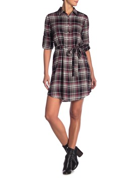 Plaid Button Shirt Dress by Max Studio