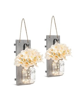 Chen Mason Jar Sconces Led   Fairy Lights,Vintage Wrought Iron Hooks, Silk Hydrangea Flower Led Strip Lights Design Home Kitchen Decoration Set Of 2 by Chen