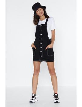 Welcome To The Contrast Lane Denim Pinafore by Nasty Gal