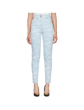 Blue Logo Stamp High Waisted Jeans by Versace