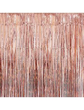 Katchon Real Rose Gold Foil Fringe Curtain   Beautiful Metallic Tinsel Rose Gold Decorations And Backdrop For Birthday Party, Wedding Decor, Bridal Shower, Baby Shower, Graduation Party Supplies by Katchon