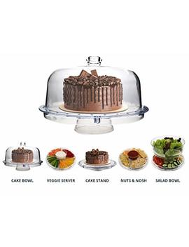 Homeries Multi Purpose 6 In 1 Cake Stand With Dome Lid   Multifunctional Serving Platter And Cake Plate   Use As Salad Bowl/Veggie Platter/Punch Bowl/Desert Platter/Nachos & Salsa Plate by Homeries