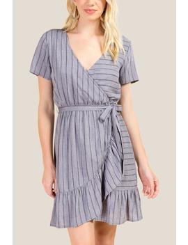 Delores Striped Ruffle Wrap Dress by Francesca's