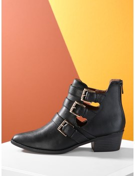 Triple Buckle Detail Stacked Heel Ankle Booties by Sheinside