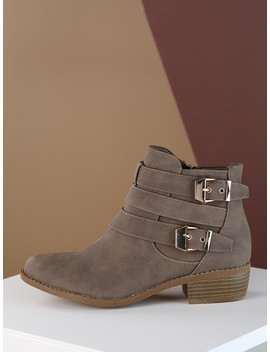 Double Buckle Almond Toe Low Heel Ankle Booties by Sheinside