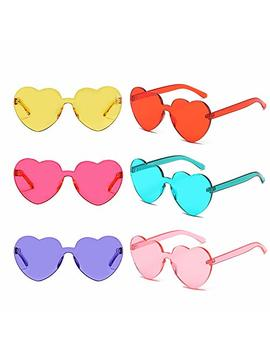 6 Packs Heart Transparent Multicolor Party Favors Big Rimless Sunglasses For Women by Pibupibu