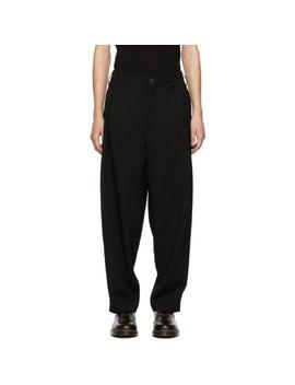 Black G Side Tuck Trousers by Yohji Yamamoto