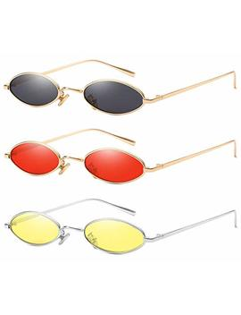 Aooffiv Vintage Slender Oval Sunglasses Small Metal Frame Candy Colors … by Aooffiv