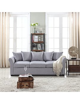 Classic And Traditional Ultra Comfortable Linen Fabric Sofa   Living Room Fabric Couch (Light Grey) by Divano Roma Furniture