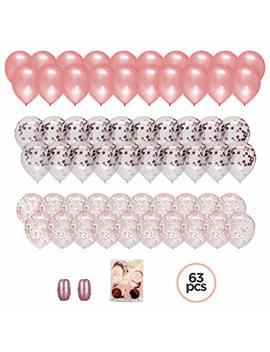 """Large Set Of 60 Premium 12"""" Rose Gold Confetti Balloons With Ribbon And Confetti Bag. Perfect For Pink, Blush, Ivory, Champagne Themes. Create That Elegant Look For Your Special Occasion By Lushny by Lush New York"""