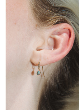 Gold And Teal Blue Rhinestone Drop Earrings by Brandy Melville