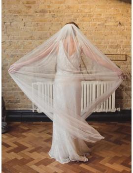 Soft Wedding Veil, Silk Style Veil, Full Veil, Wide Veil, Single Tier Veil, Raw Edge Veil, English Net Veil, Simple Wedding Veil   'beauty' by Etsy