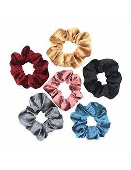 6 Pcs Velvet Hair Scrunchies Hair Bands Ties Ponytail Holder Hair Accessories (Mixed Colors) by Amazon