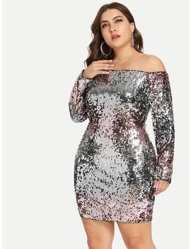Plus Slim Fitted Bardot Sequin Dress by Shein