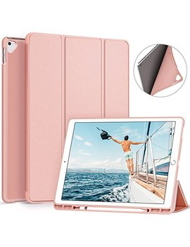 Ztotop I Pad Pro 12.9 Inch 2017/2015 Case With Pencil Holder  Lightweight Soft Tpu Back Cover And Trifold Stand With Auto Sleep/Wake,Protective For Apple I Pad Pro 12.9 Inch,Rose Gold by Ztotop