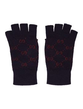 Navy & Red Gg Supreme Fingerless Gloves by Gucci
