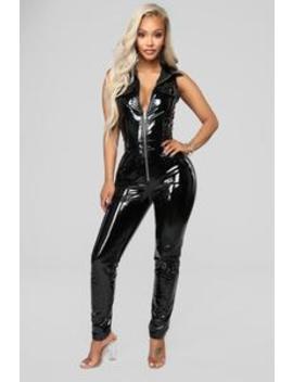 Sasha Latex Jumpsuit   Black by Fashion Nova