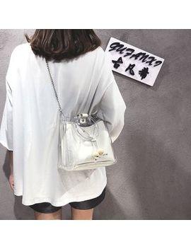 Cueva   Clear Drawstring Handbag With Snap Button Bag by Cueva