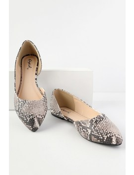 Zooey Beige And Brown Snake D'orsay Flats by Lulu's