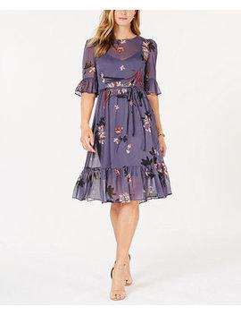 Floral Ruffled A Line Midi Dress by Avec Les Filles