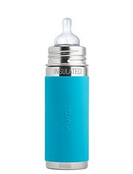 Pura Kiki 9 Oz / 260 Ml Stainless Steel Insulated Infant Bottle With Silicone Medium Flow Nipple & Sleeve, Aqua... by Pura