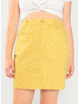 Plus Button Up Front Dot Skirt by Shein