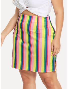 Plus Striped Zip Up Side Skirt by Sheinside