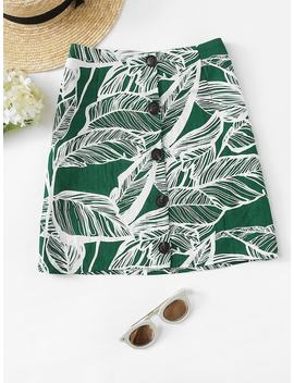 Plus Tropical Print Single Breasted Skirt by Sheinside
