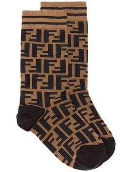 Brown And Black Ff Logo Cotton Socks by Fendi
