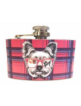 Betsey Johnson Plaid Dog And Sunglasses Flask by Amazon