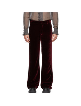Burgundy Velvet Trousers by Palomo Spain