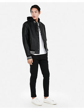 Tipped Hooded Baseball Jacket by Express