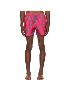 Pink Shrimp Print Swim Shorts by Paul Smith