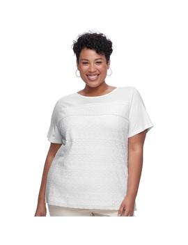 Plus Size Croft & Barrow® Mixed Lace Short Sleeve Tee by Plus Size Croft & Barrow