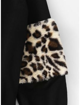 Leopard Panel Lantern Sleeve Sweatshirt by Shein