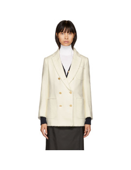 White Double Breasted Sack Blazer by Thom Browne