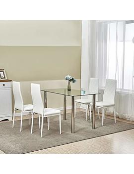 Lemaijiaju Dining Table Set Kitchen Furniture With 4 Dining Chairs (White) by Lemaijiaju